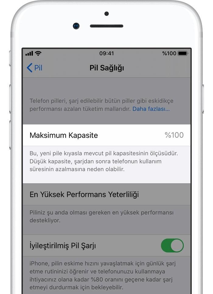 iPhone batarya değişimi sonrasında pil sağlığı kısmında maximum kapasite %100 olarak görünmektedir.